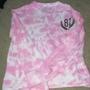 Tie-dye pink and white shirt
